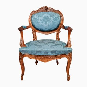 Louis XV Office Chair Rocaille in Solid Walnut Circles 1850, Set of 2
