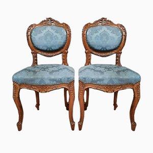 Sillas de oficina Louis XV de nogal, década de 1850. Juego de 2