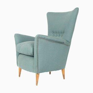 Mid-Century Modern Italian Grey Fabric & Wood Armchair