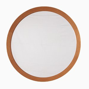 Espejo de pared grande redondo de madera, años 60