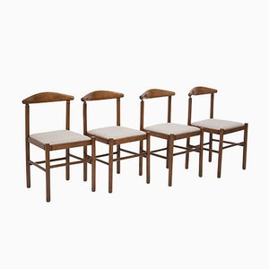 Italienische Vintage Stühle aus Nussholz & Baumwolle, 4er Set
