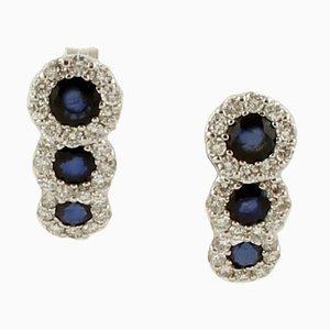Blaue Saphire, Diamanten, 18 Karat Weißgold Ohrstecker