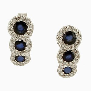 Blue Sapphires, Diamonds, 18 Karat White Gold Stud Earrings