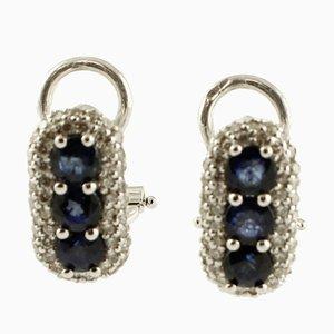 Diamanten, Blaue Saphire, 18 Karat Weißgold Ohrringe