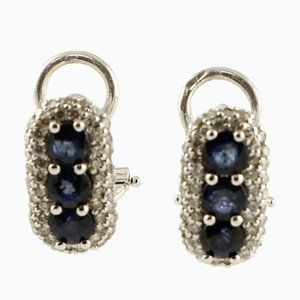 Diamonds, Blue Sapphires, 18k White Gold Earrings