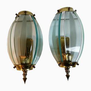 Mid-Century Glass and Brass Sconces, Italy, 1960s, Set of 2