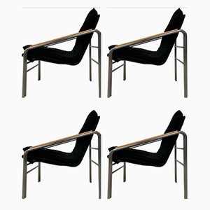 Armchairs with Chrome Construction, Set of 4