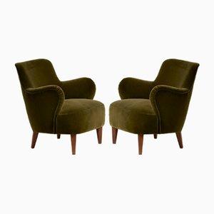 Velvet Armchairs by Carl Malmsten, 1950s, Set of 2