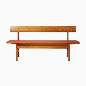 Oak and Leather Bench by Borge Mogensen, 1950s