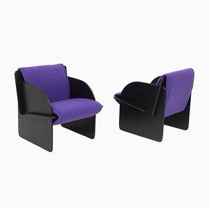 Vintage Italian Armchairs in Purple Bouclè, Set of 2