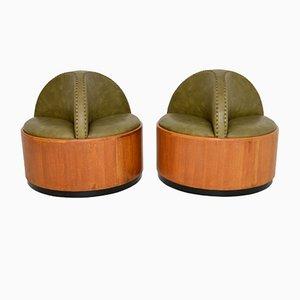 Art Deco Period Oak Conversation Seats, Set of 2
