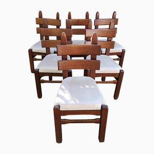 Brutalist Chairs in Alcantara, Set of 6