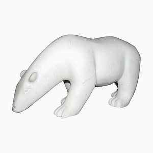 J.B. Vandame, White Bear Sculpture, 2015, Marble