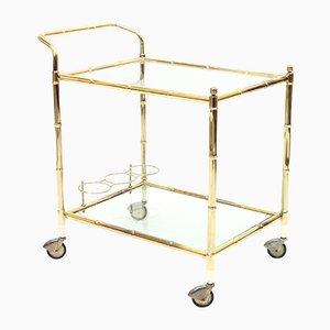 Faux Bamboo Brass Bar Cart, 1970s