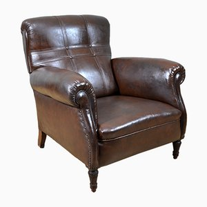 Vintage Brown Leather Armchair, Italy, 1930s