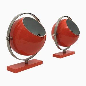 Orangefarbene Saba Tischlampen von Stilux Milano, 1960er, 2er Set