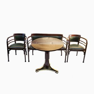 Antique Viennese Living Room Set by Otto Wagner for Thonet, Austria, Set of 4
