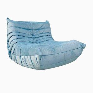 Vintage French Togo Lounge Chair in Light Blue Velvet by Michel Ducaroy for Ligne Roset.