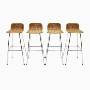 Chromed Steel and Rattan Bar Stools from Rohé Noordwolde, 1960s, Set of 4
