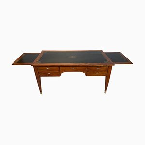 French Walnut and Embossed Leather Desk, France, 1820s