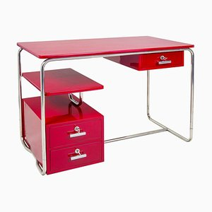 Chrome Bauhaus Desk in Red, Germany, 1930s