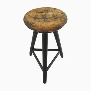 Vintage Industrial Wooden Stool with Original Paint, 1930s