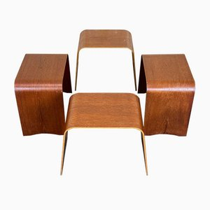 Modell 4515 Hocker von Hans Ludvigsen für Fritz Hansen, 1960er, 4er Set