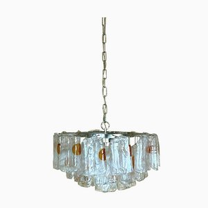 Large Murano Glass and Chrome Chandelier, 1960s