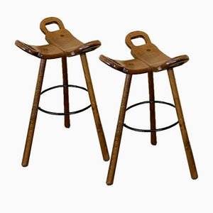 Mid-Century Bar Stools Attributed to Carl Malmsten, Sweden, Set of 2