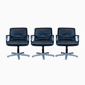 Mid-Century Sessel aus Leder & Chrom von Wilkhahn, 1960er, 3er Set