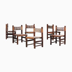 Brazilian Chairs in Leather and Solid Wood, 1960s, Set of 6