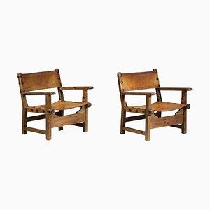 Skandinavische Armlehnstühle aus Massivholz im Safari Stil, 2er Set
