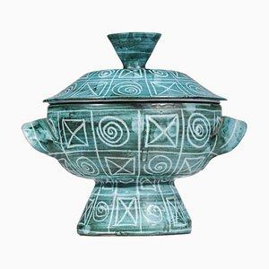 Blue Ceramic Tureen from Robert Picault Vallauris