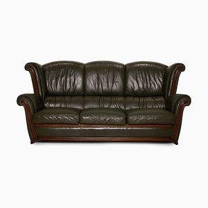 Dunkelgrünes 3-Sitzer und 2-Sitzer Ledersofa von Nieri, 2er Set