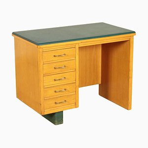 Leatherette, Beech and Veneer Writing Desk, Italy, 1960s