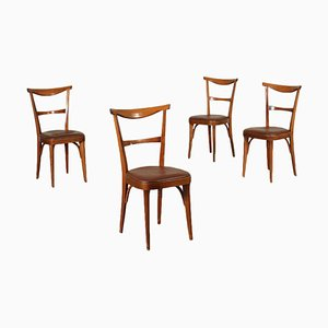 Stained Beech, Foam and Leatherette Chairs, Italy, 1950s, Set of 4