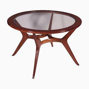 Tisch aus Furnier und massivem Mahagoni mit Glasplatte, 1950er
