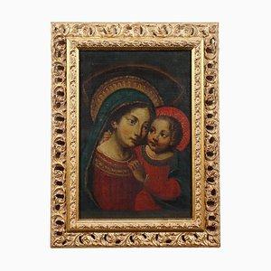 Madonna mit Kind, Öl auf Leinwand, gerahmt