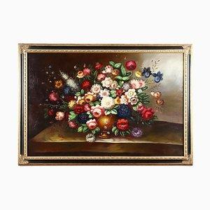 Large Floral Composition, Oil on Canvas, Framed