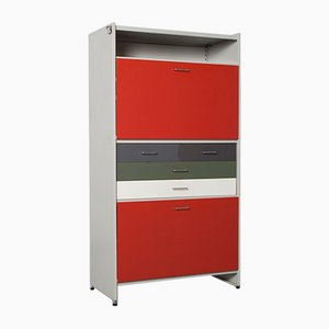 5601 Wall Unit with Red Desk and Light from Gispen