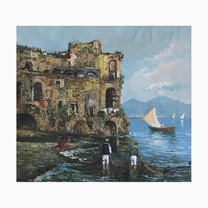 Scognamiglio, Baie de Neapel et pêcheurs, 1957, Öl auf Leinwand, gerahmt
