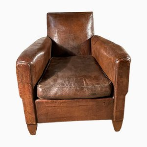 French Conker Leather Studded Club Armchair