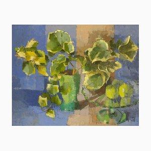 Jill Barthorpe, Blue Still Life with Ivy, 2020, Oil on Canvas, Framed