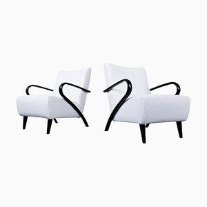 Italian Mid-Century Modern White Armchairs in New Upholstery, 1950s