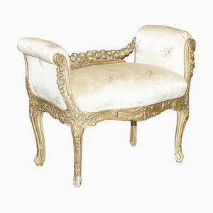 French Hand Carved Giltwood Window Bench or Stool, 1840s