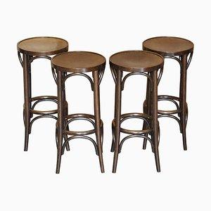 Bentwood Bar Stools from Thonet, Set of 4