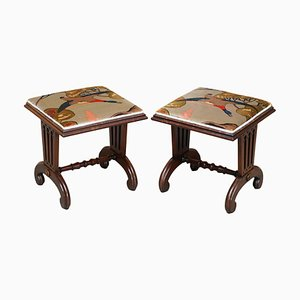 William IV Hardwood Footstools in Mulberry Flying Ducks Upholstery, 1830s, Set of 2