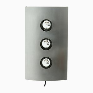 Large Brushed Steel Wall Light, 1960s