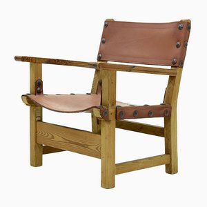 Brutalist Armchair in Pine and Cognac Leather, 1960s