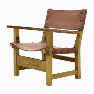 Brutalistischer Sessel aus Kiefernholz & cognacfarbenem Leder, 1960er